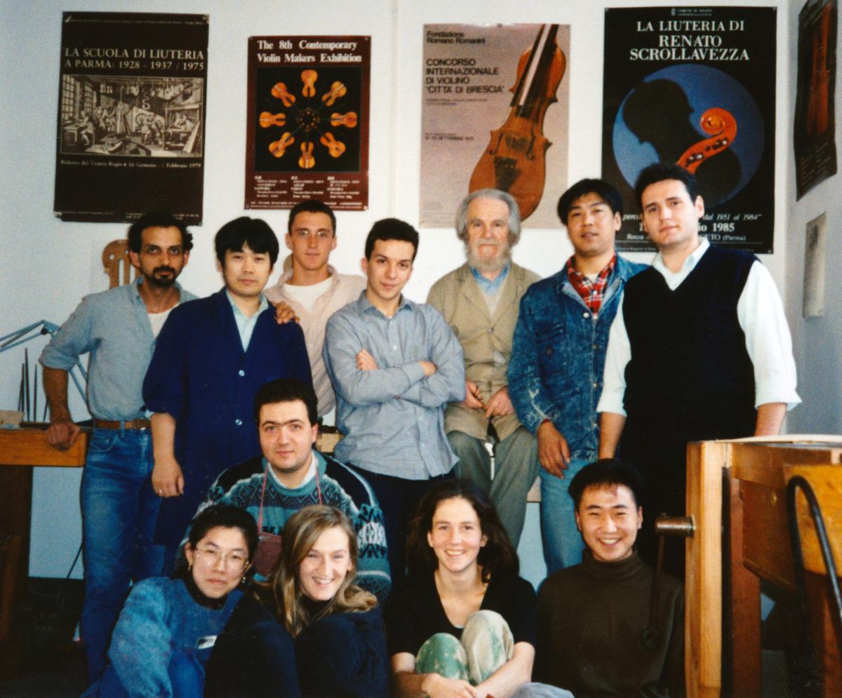 Renato Scrollavezza and students in 1995