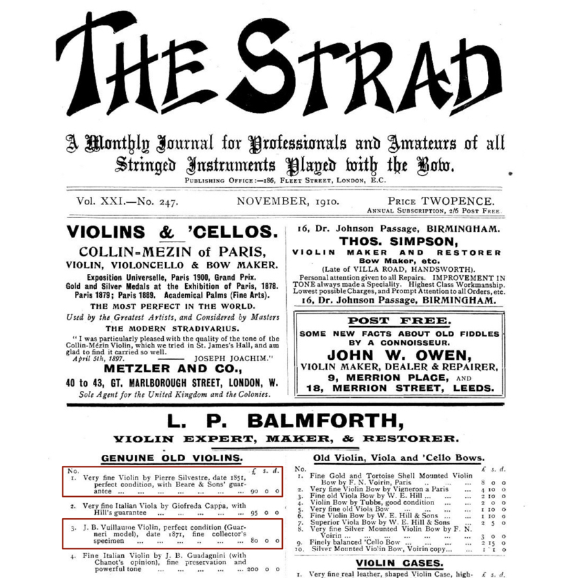 Advert from The Strad 1910
