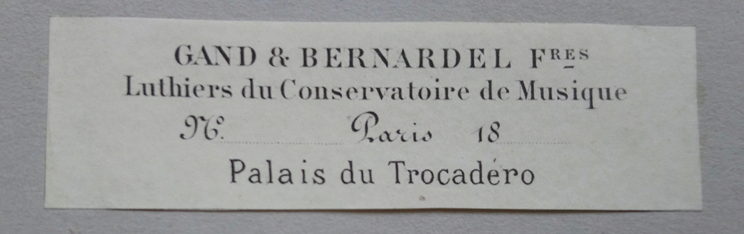 Gand and Bernardel label 1878