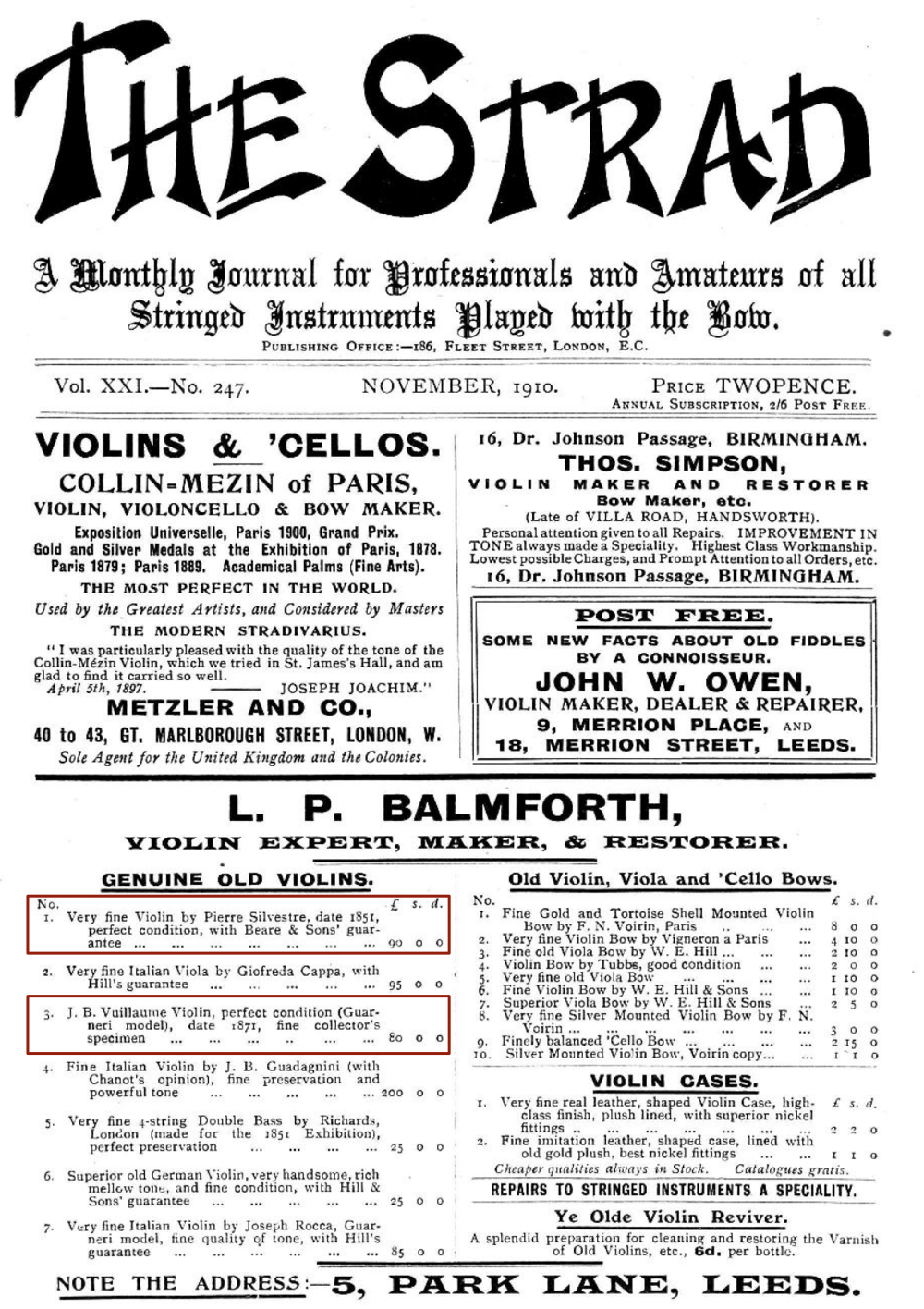 The Strad advert 1910
