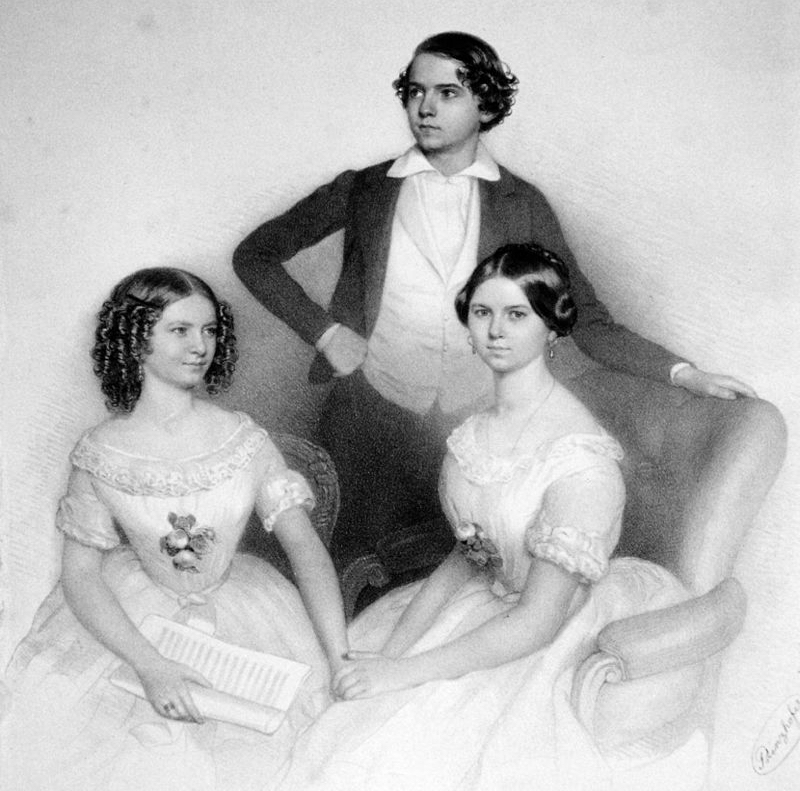 Wilma, Victor and Amalie Neruda Litho