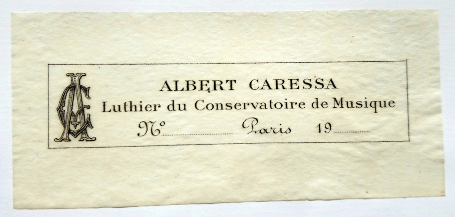Violin label used by Albert Caressa