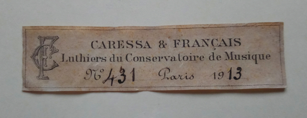 Caressa & Francais label dated 1913