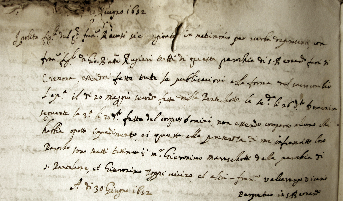 Francesco Rugeri marriage document