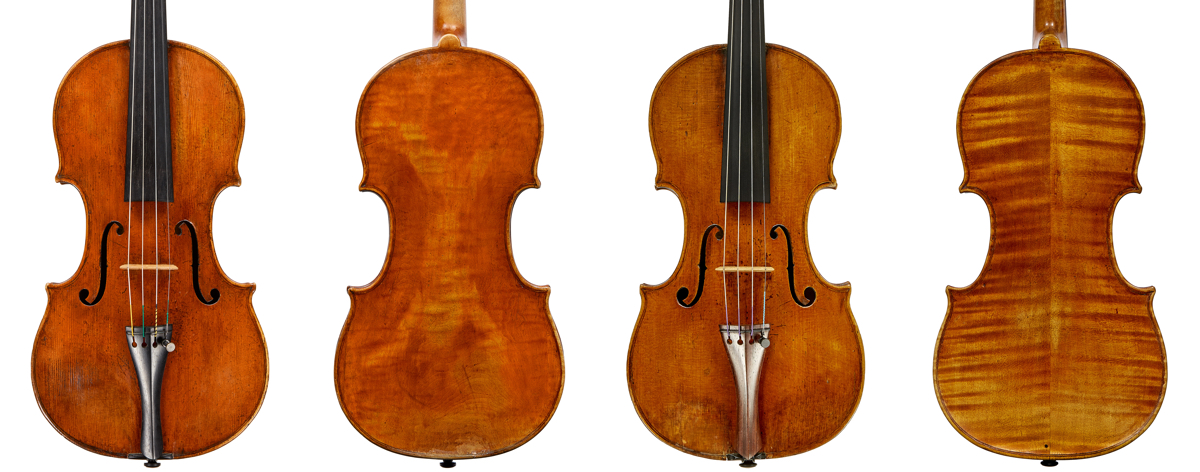 Side-by-side comparison of two Calcagno violins