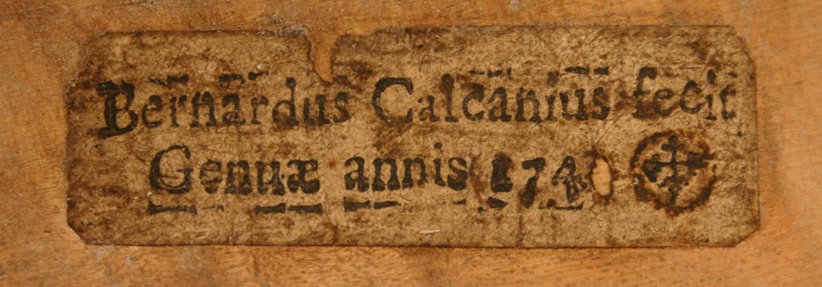 Calcani label dated 1740