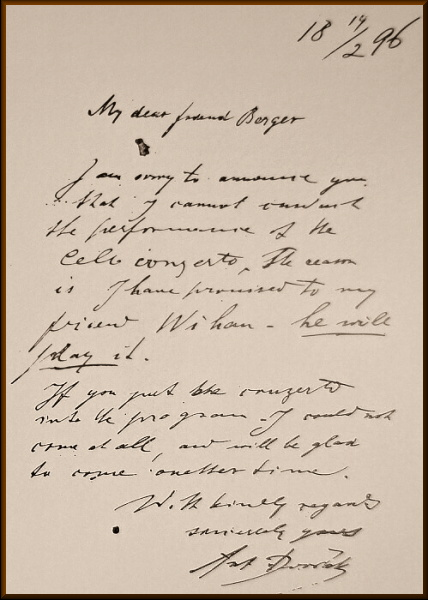 Letter from Dvorak to Berger