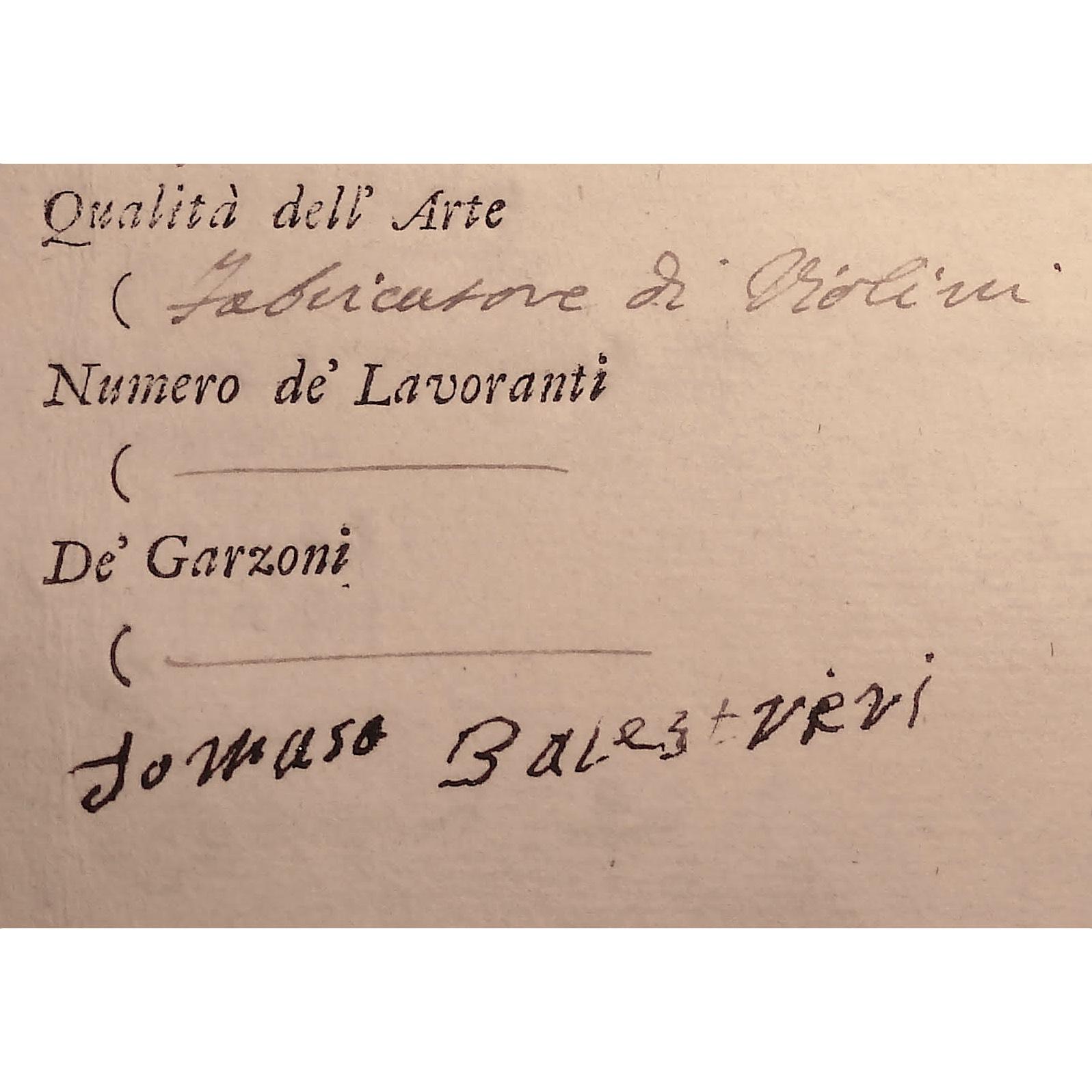 amera di Commercio bearing Balestrieri's name