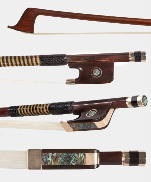 Kittel cello bow, gold tortoiseshell
