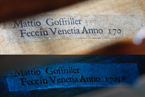Label from a Goffriller cello. The UV light shows the date as either 1701 or 1710