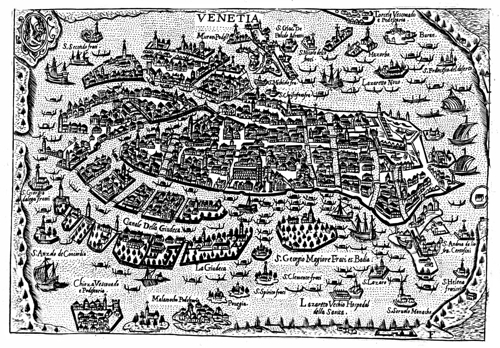 Map of Venice in 1629, 20 years after the publication of L'Orfeo (Bertelli)