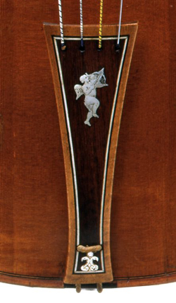 The tailpiece of the tenor viola, which retains all its original fittings