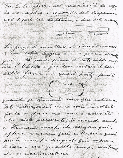 A letter from Sacconi to Sderci giving instructions on the making of his next instrument (see translation in text)