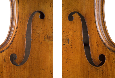 Close inspection of the contralto's f-holes reveals they are quite different from each other