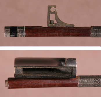 The tightening mechanism which moves inside the frog (top) and the cutout for the tightening mechanism (bottom)
