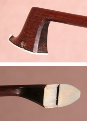 The player side chamfer and (bottom) the ivory head-plate showing the cutout to guide the hair