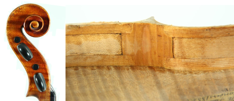 Scroll of a violin by the mysterious Frederik Wilhelm Hansen, and a corner block detail – notice the way the linings overlap the corner block itself. This detail is also seen in Peder Pedersen Adamsen violins