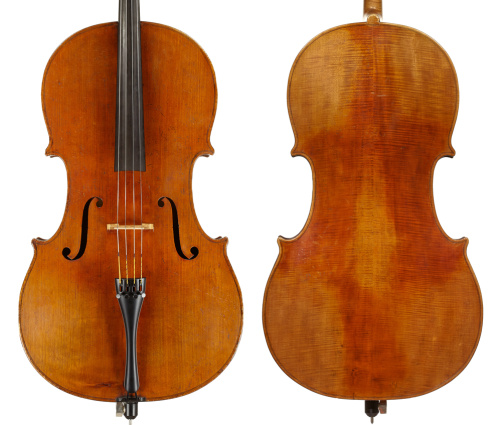 A cello made by Peter Petersen Adamsen in 1891