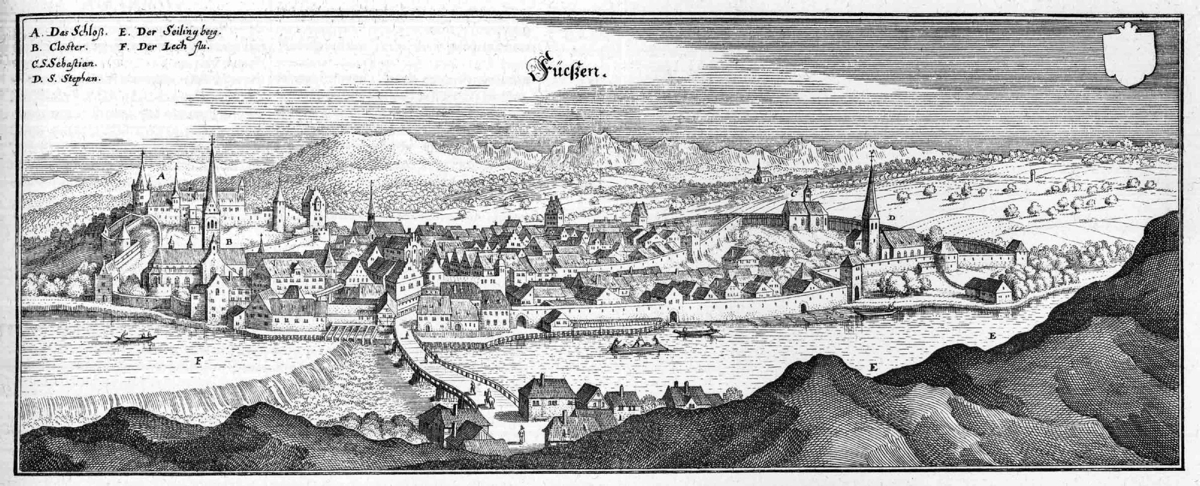 A 17th-century engraving of Füssen by Matthäus Merian the Elder