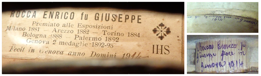 The label and inscriptions from the 1914 violin. Photos: Tarisio