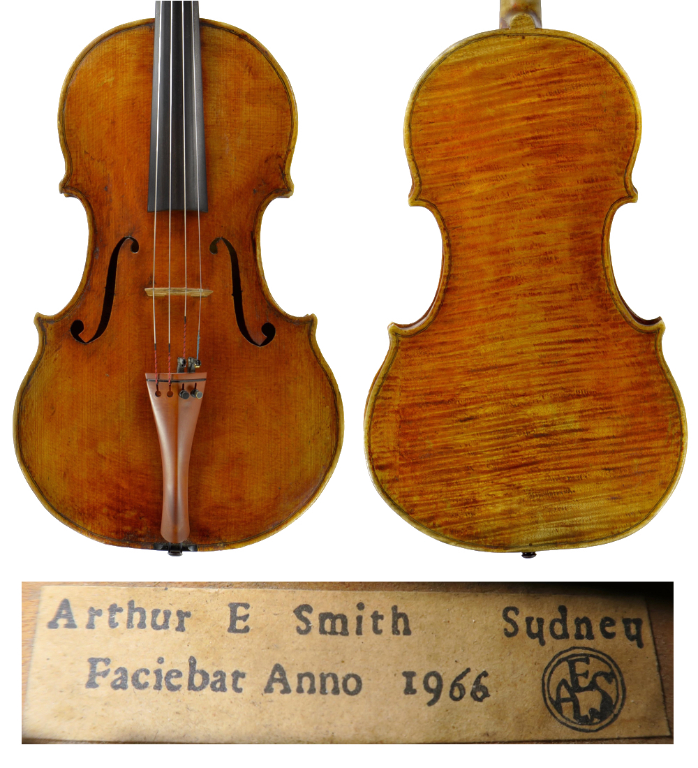 Smith viola made in 1966, after the maker's stroke – despite its shaky workmanship, the viola features fine wood and varnish