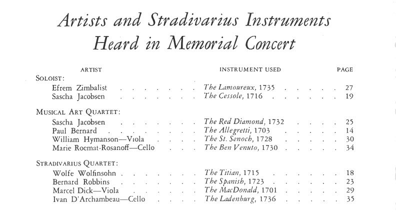 A page from the program for the 1937 Stradivari Memorial Concert. Marie thing is listed as playing the Ben Venuto cello