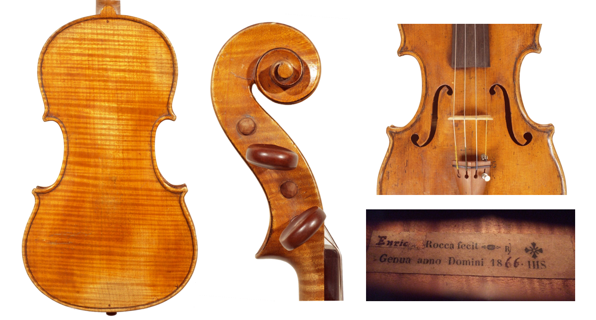 A violin from 1866 which Enrico appears to have finished for his father. The label shows a handwritten 'Enrico' over the original printed 'Giuseppe'. Photos: ???