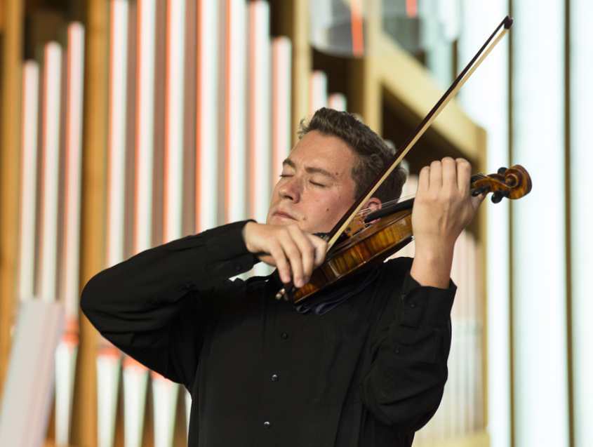 Kristof Barati playing the 'Lady Harmsworth' at this year's Verbier Festival. Photo: AlinePaley