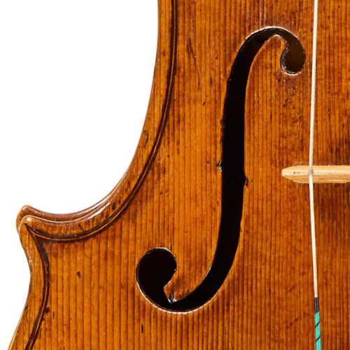 The lower sound-hole wings are tapered and rather long relative to the upper wings, a feature that became even more extreme on later violins made by Carlo in Venice.