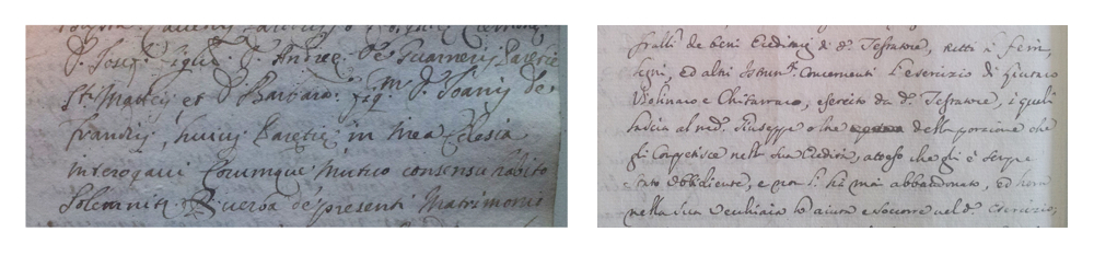 Records of the marriage of 'filius Andrea' to Barbara Franchi in 1690 and Andrea Guarneri's will from 1692 in which he praises his son's obedience