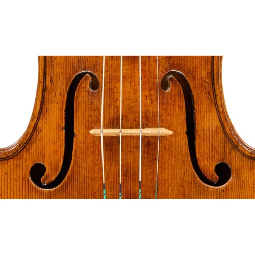 The narrow-set sound-holes follow an Amati pattern but stand slightly more upright.