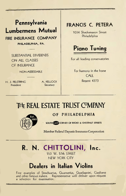 An advert placed by Chittolini in the 1939 Philadelphia Musical Academy Commencement program. Courtesy of John Land