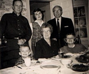 The Chittolini family in c. 1958. Standing from left, John Land (Sr), Fanny Hall Land, Roger Nestor Chittolini. Seated from left: Bill Land, Sarah Avaline Chittolini and Sarah Land. Photo courtesy of John Land