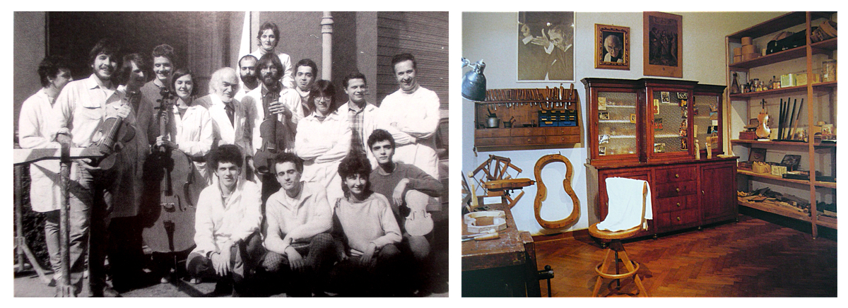 Left: Otello Bignami and students from the Bologna school of violin making. Right: Bignami's reconstructed workshop in the Bologna museum