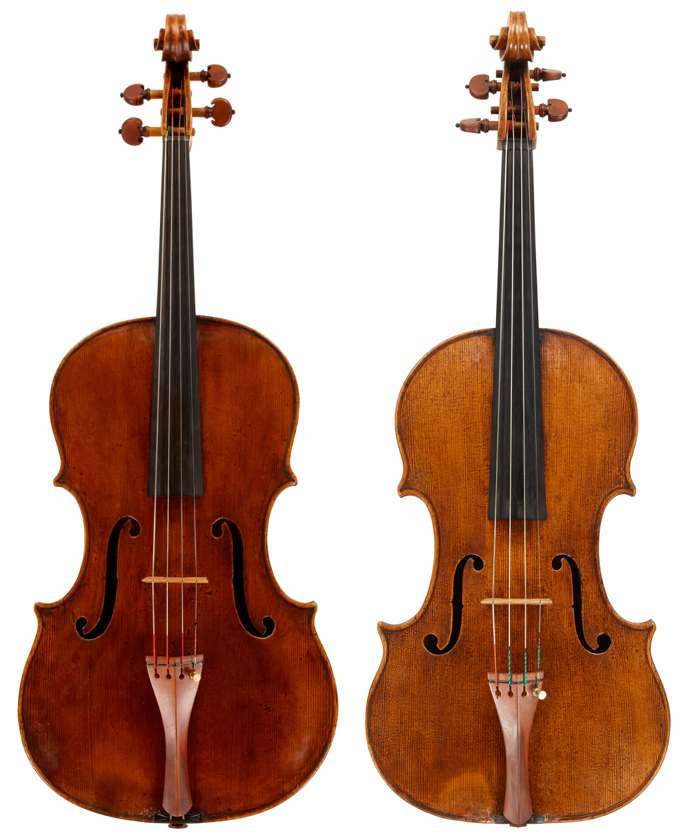 Violas made by Gaspar (left) and the Brothers Amati. Although there are superficial similarities, it is remarkable how little DNA they share. Photos: Tarisio